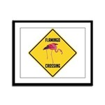 Flamingo Crossing Sign Framed Panel Print