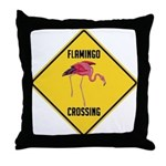 Flamingo Crossing Sign Throw Pillow