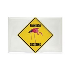 Flamingo Crossing Sign Rectangle Magnet