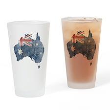 Vintage Australia Flag / Map Drinking Glass