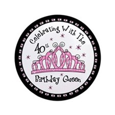 "Tiara 40th Birthday Queen CW 3.5"" Button"