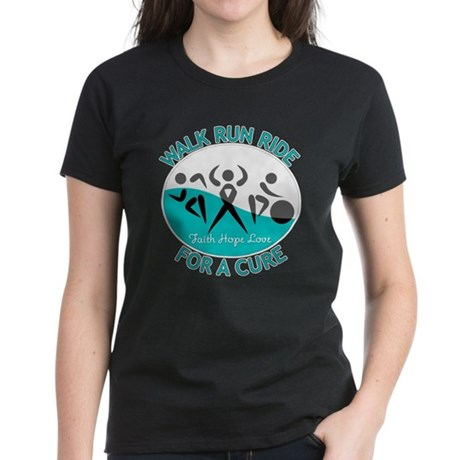 Cervical Cancer Walk Run Ride Women's Dark T-Shirt