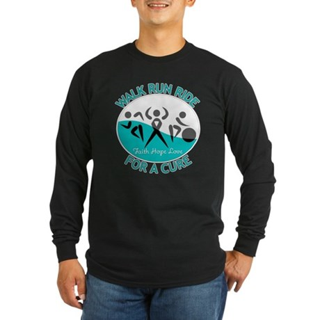 Cervical Cancer Walk Run Ride Long Sleeve Dark T-S