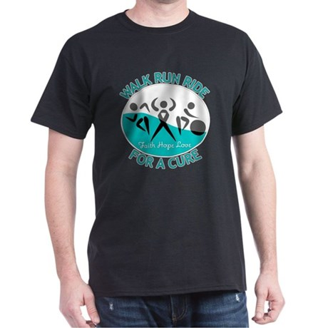 Cervical Cancer Walk Run Ride Dark T-Shirt