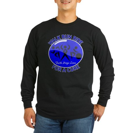 Colon Cancer Walk Run Ride Long Sleeve Dark T-Shir