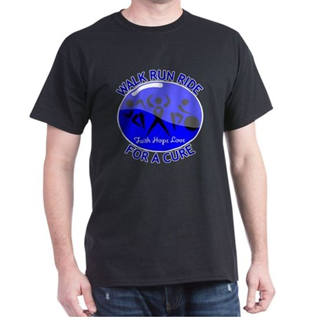 Colon Cancer Walk Run Ride Dark T-Shirt