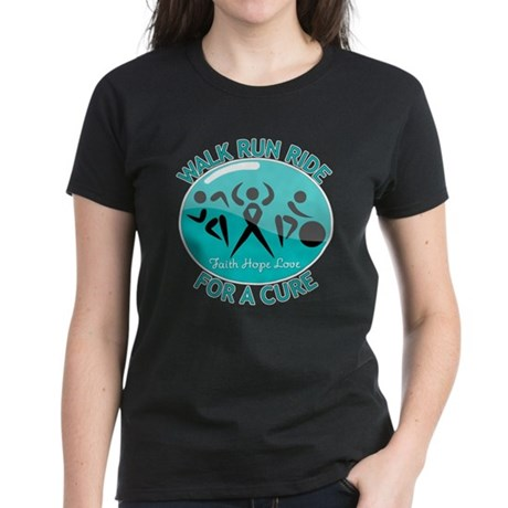 Ovarian Cancer Walk Run Ride Women's Dark T-Shirt