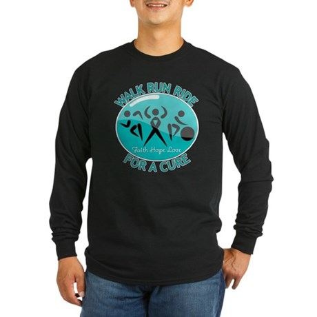 Ovarian Cancer Walk Run Ride Long Sleeve Dark T-Sh
