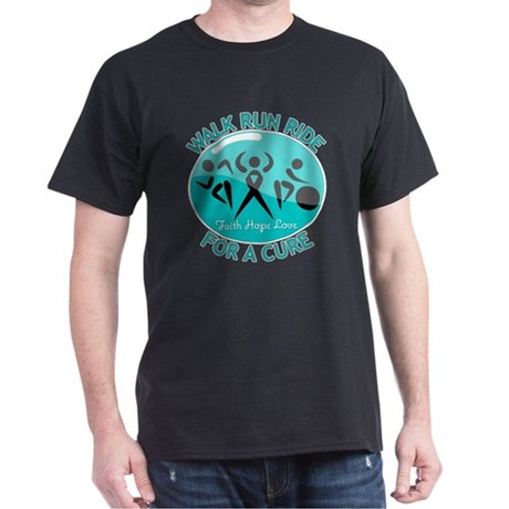 Ovarian Cancer Walk Run Ride Dark T-Shirt