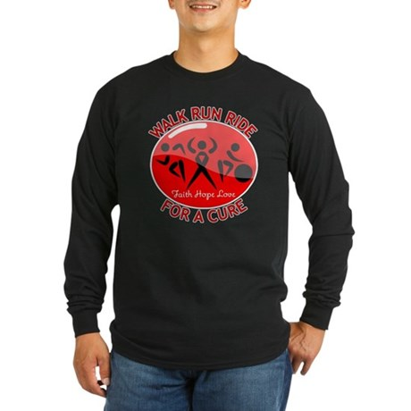 AIDS Walk Run Ride Long Sleeve Dark T-Shirt