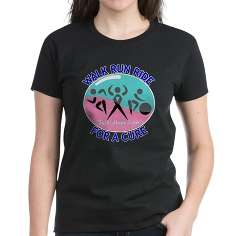 Thyroid Cancer Walk Run Ride Women's Dark T-Shirt