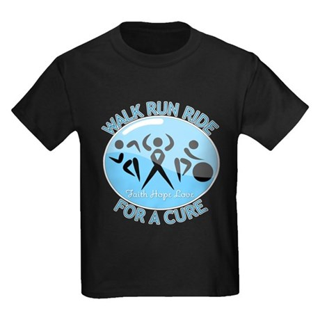 Prostate Cancer Walk Run Ride Kids Dark T-Shirt
