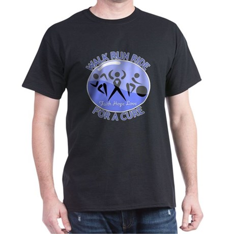 Esophageal Cancer Walk Run Ride Dark T-Shirt