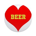 iHeart Beer Ornament (Round)