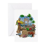 Parrot Beach Party Greeting Cards (Pk of 10)