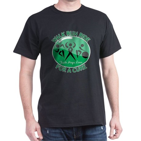 Liver Cancer Walk Run Dark T-Shirt