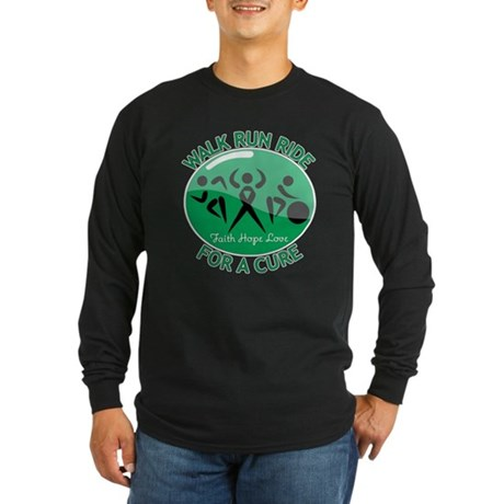 Liver Cancer Walk Run Long Sleeve Dark T-Shirt