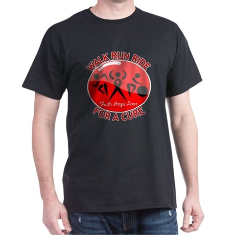 Heart Disease Walk Run Ride Dark T-Shirt