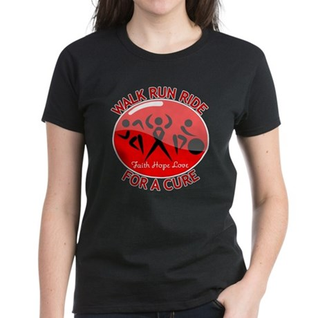 Heart Disease Walk Run Ride Women's Dark T-Shirt