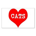 I Heart Cats Sticker (Rectangle 10 pk)