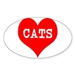 I Heart Cats Sticker (Oval)