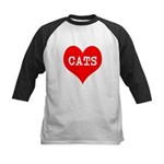 I Heart Cats Kids Baseball Jersey