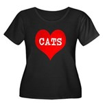 I Heart Cats Women's Plus Size Scoop Neck Dark T-S