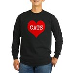 I Heart Cats Long Sleeve Dark T-Shirt