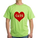 I Heart Cats Green T-Shirt