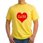 I Heart Cats Yellow T-Shirt