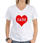 I Heart Cats Women's V-Neck T-Shirt