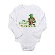 Monkey 1st St. Patrick's Day Long Sleeve Infant Bo