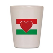 Heart Hungary Flag Shot Glass