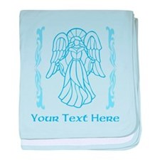 Angel in Blue, with Text. baby blanket