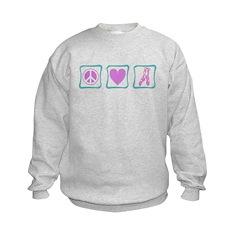 Peace, Love and Ballet Shoes Kids Sweatshirt