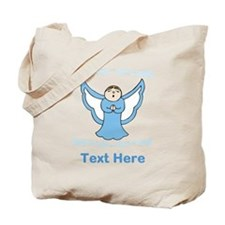 Singing Angel. Blue Text. Tote Bag