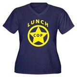 Lunch Cop Women's Plus Size V-Neck Dark T-Shirt