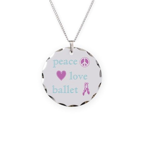 Peace, Love and Ballet Necklace Circle Charm