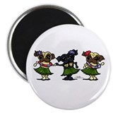 Hula Dancer Pugs Magnet