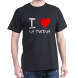 I Heart My Twins Black T-Shirt