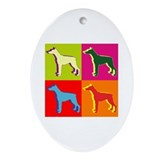 Doberman Pinscher Silhouette Pop Art Ornament (Ova
