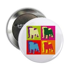 "Pug Silhouette Pop Art 2.25"" Button (10 pack)"