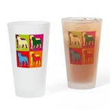 Rottweiler Silhouette Pop Art Drinking Glass