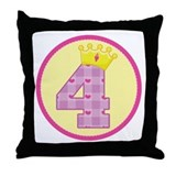 4th Birthday Princess Crown Throw Pillow