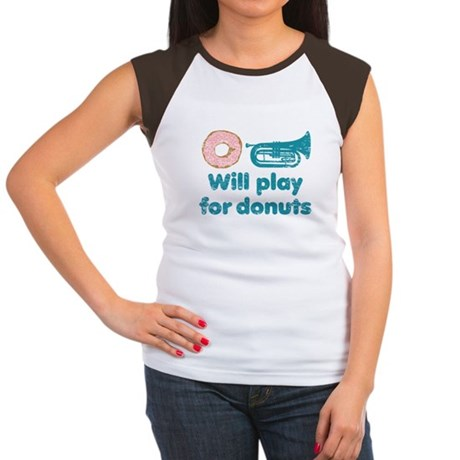 Will Play Baritone for Donuts Women's Cap Sleeve T