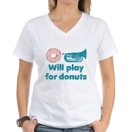 Will Play Baritone for Donuts Women's V-Neck T-Shi