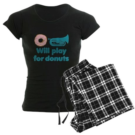 Will Play Baritone for Donuts Women's Dark Pajamas