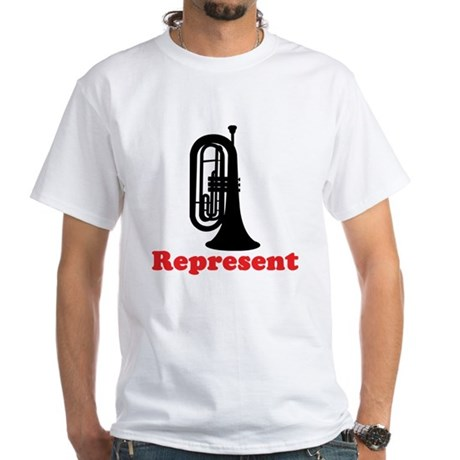 Marching Band Baritone Represent White T-Shirt