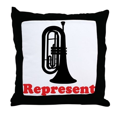 Marching Band Baritone Represent Throw Pillow