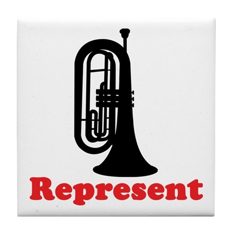 Marching Band Baritone Represent Tile Coaster